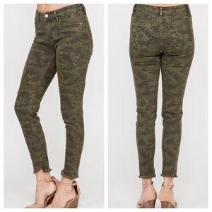 Denim - Just In! Camo Skinny Fray Hem Jeans